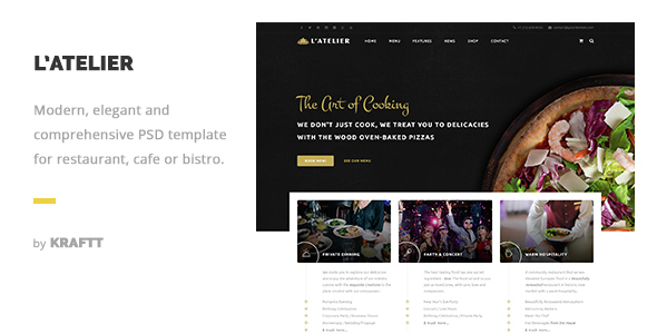 L'Atelier - Elegant Restaurant PSD Template