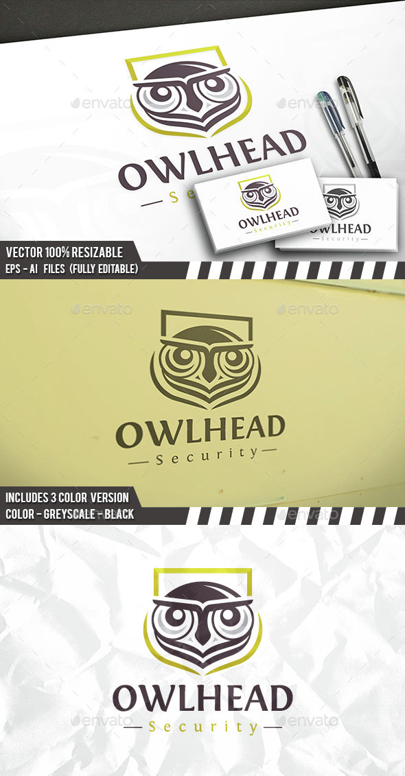 Owl Security Logo - Animals Logo Templates