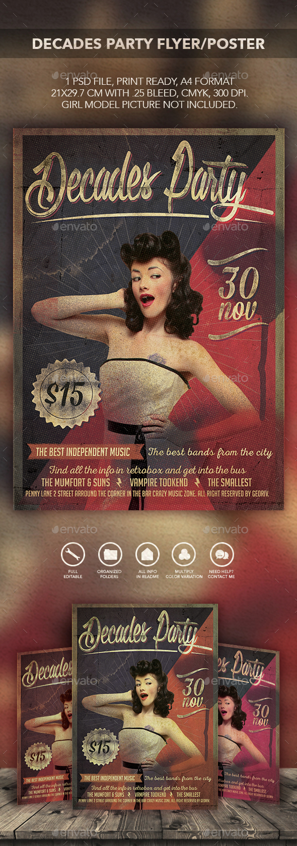 Decades Party Flyer/Poster - Flyers Print Templates