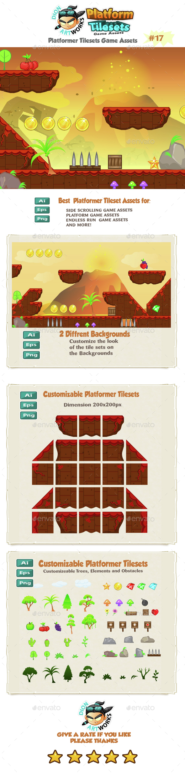 Volcanic Platformer Game Tilesets 17 - Tilesets Game Assets