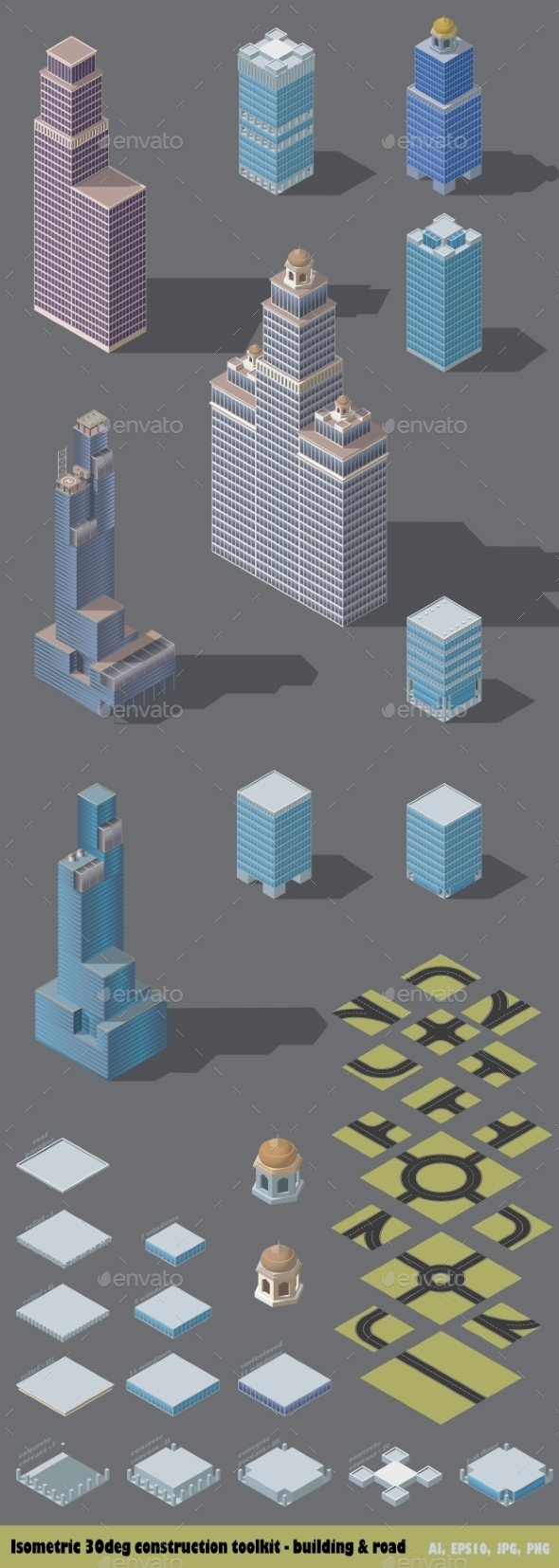 Isometric Map Toolkit Downtown - Buildings Objects