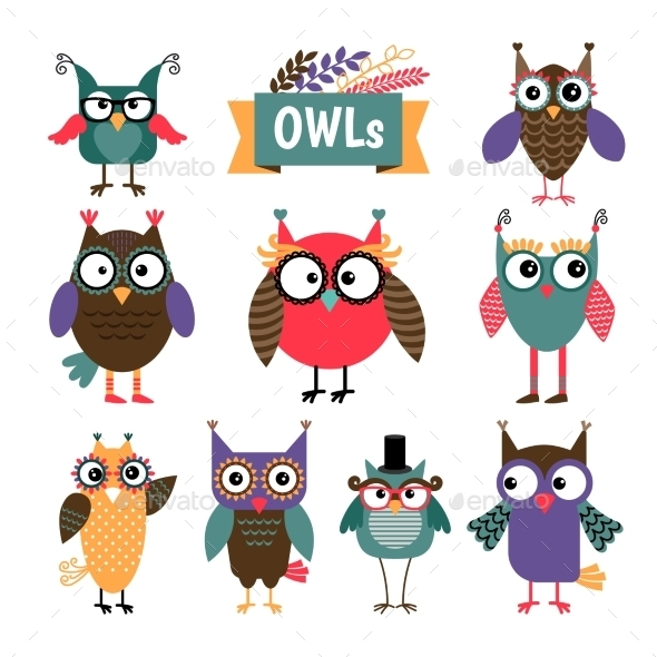 Owl Coloured Icons Set - Animals Characters