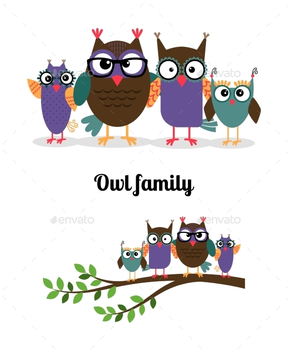Owl Happy Family - Animals Characters