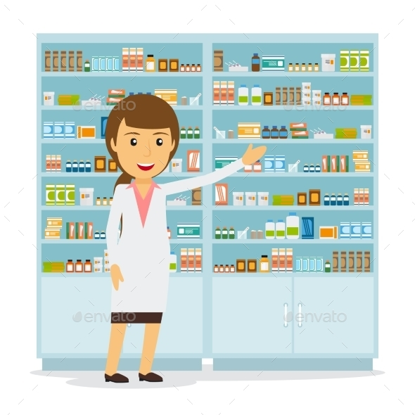 Smiling Female Pharmacist  - People Characters