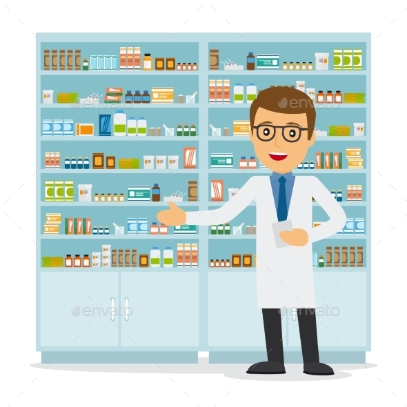 Male Pharmacist On Medicine Background - Health/Medicine Conceptual