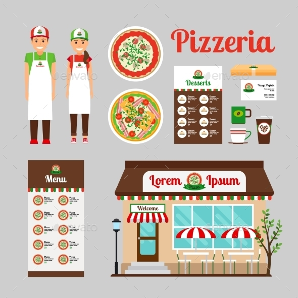 Pizza Cafe Front Design Icons Set - Commercial / Shopping Conceptual
