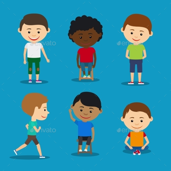 Funny Kids Boys Vector Illustration.  - People Characters