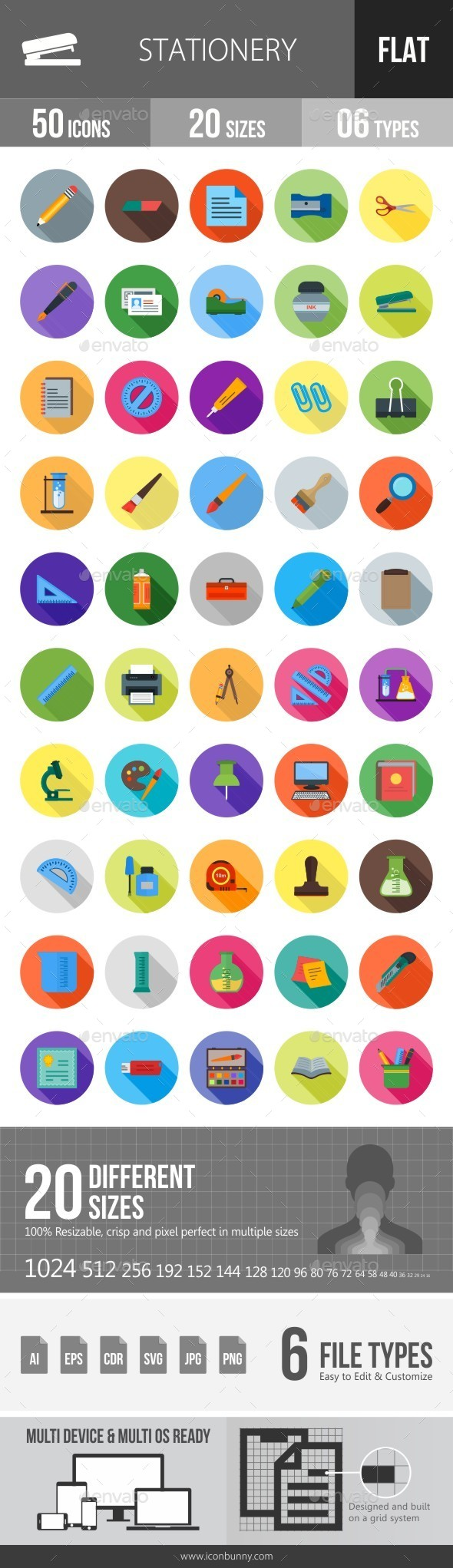 Stationery Flat Shadowed Icons - Icons