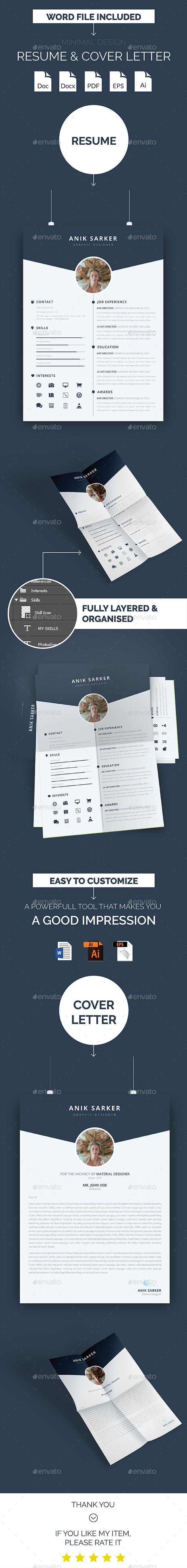 Minimal Design Resume & Cover Letter - Resumes Stationery