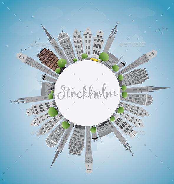 Stockholm Skyline with Gray Buildings  - Buildings Objects