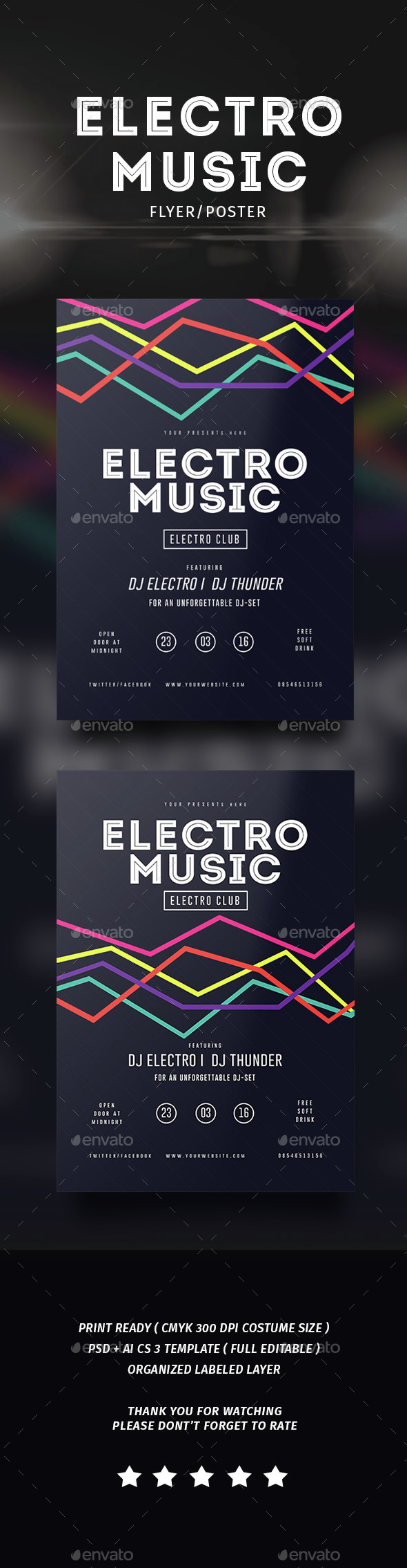 Electro Musik Flyer & Poster - Events Flyers