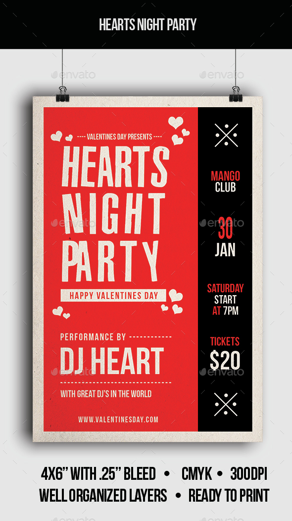 Hearts Night Party - Flyer - Clubs & Parties Events