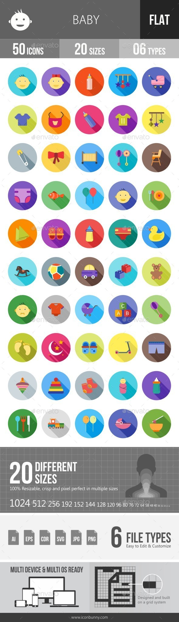 Baby Flat Shadowed Icons - Icons