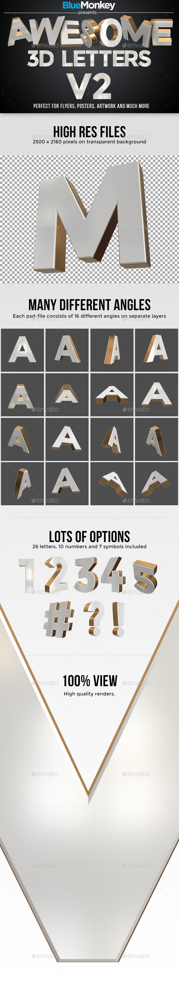 3D Letters Pack v2 - 3D Backgrounds
