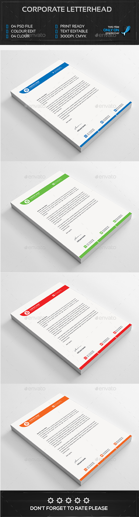 Corporate Letterhead FEATURES - Stationery Print Templates