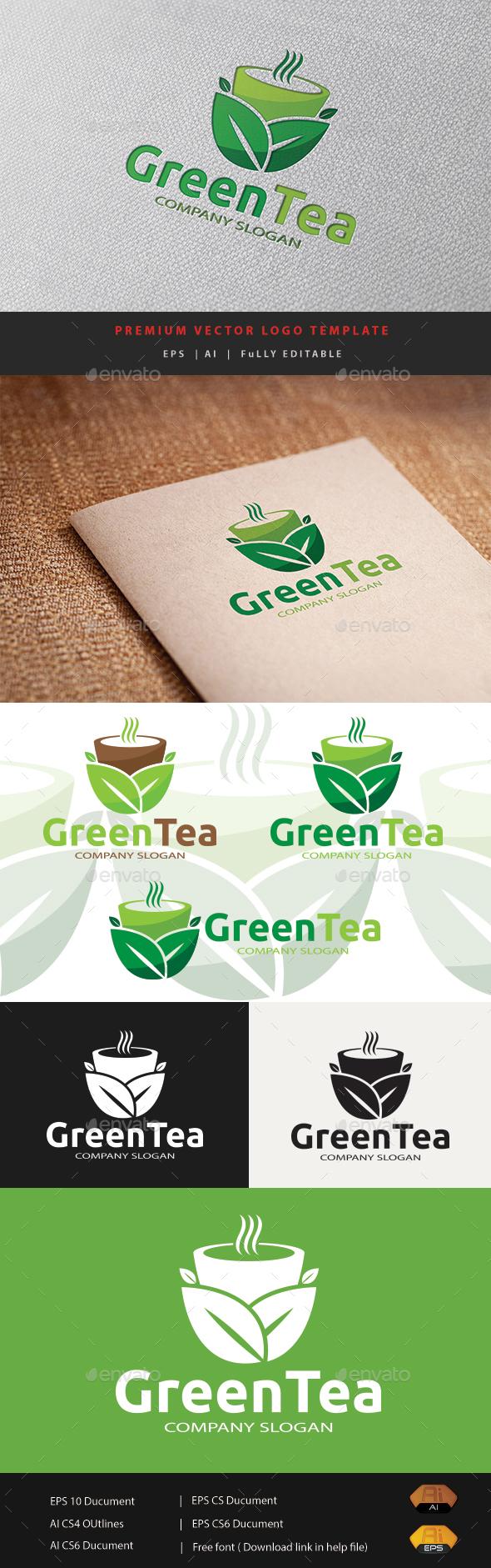 Green Tea - Food Logo Templates