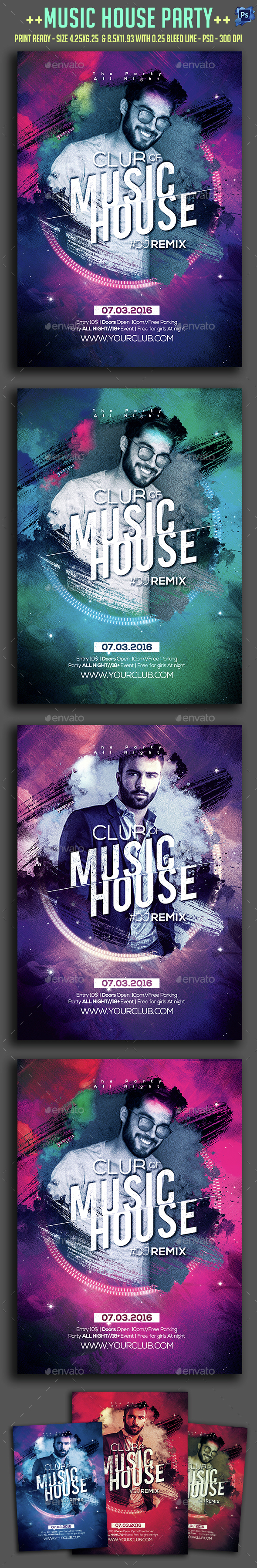 Music House Party Flyer  - Clubs & Parties Events