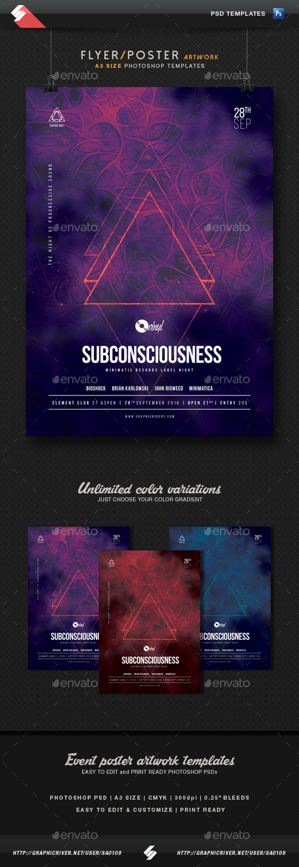 Subconsciousness - Party Flyer Template A3 - Clubs & Parties Events