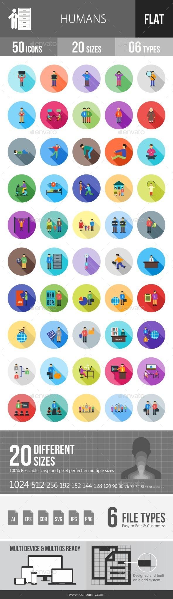 Humans Flat Shadowed Icons - Icons