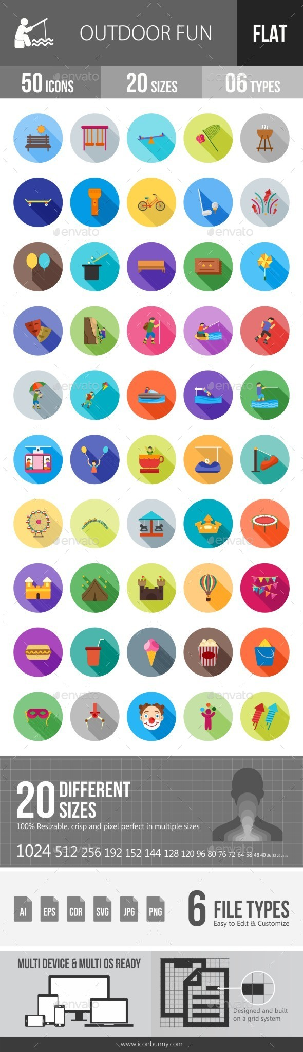 Outdoor Fun Flat Shadowed Icons - Icons