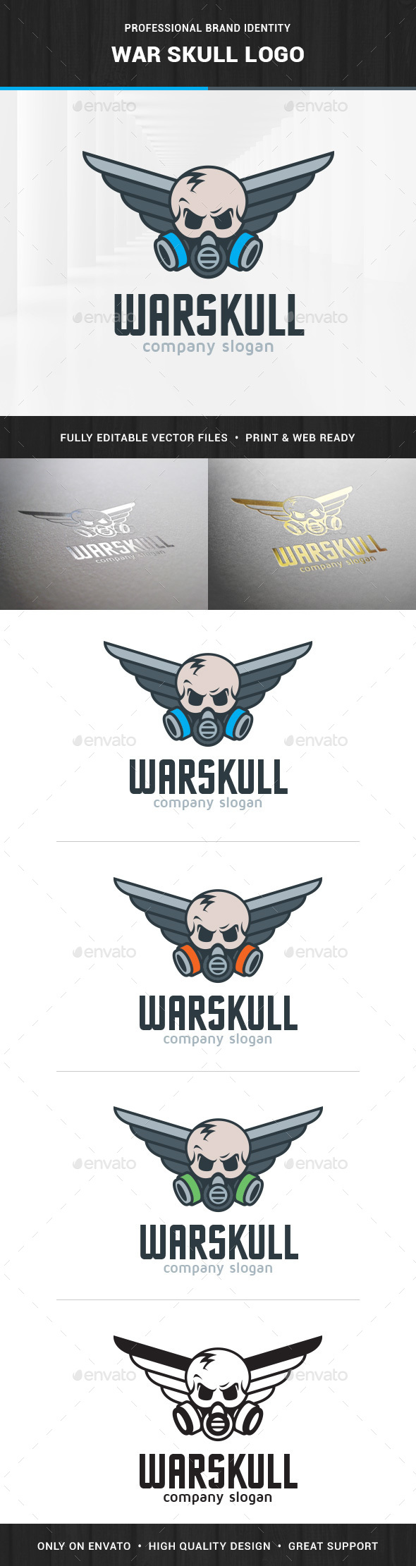 War Skull Logo Template - Humans Logo Templates