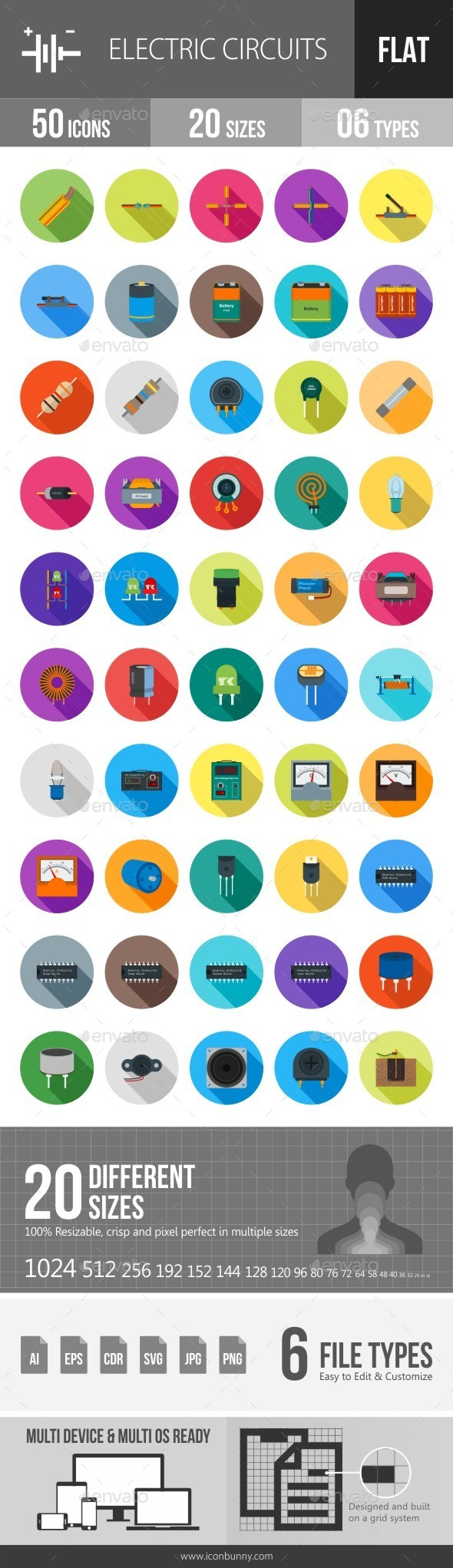 Electric Circuits Flat Shadowed Icons - Icons