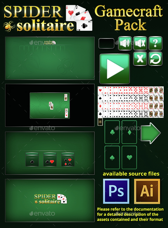 Spider Solitaire Game Assets  - User Interfaces Game Assets
