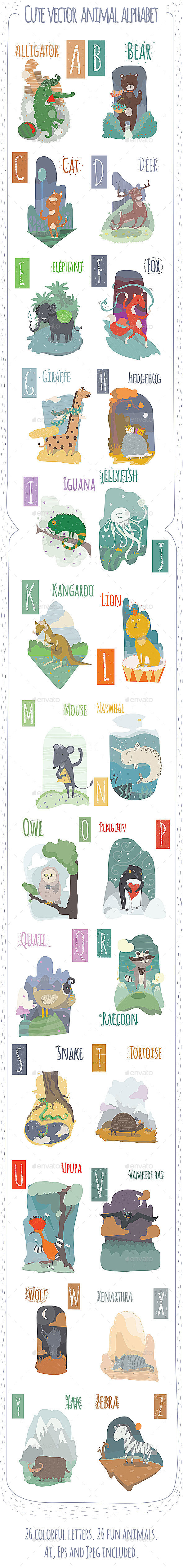Cute Animal Vector Alphabet  - Animals Characters