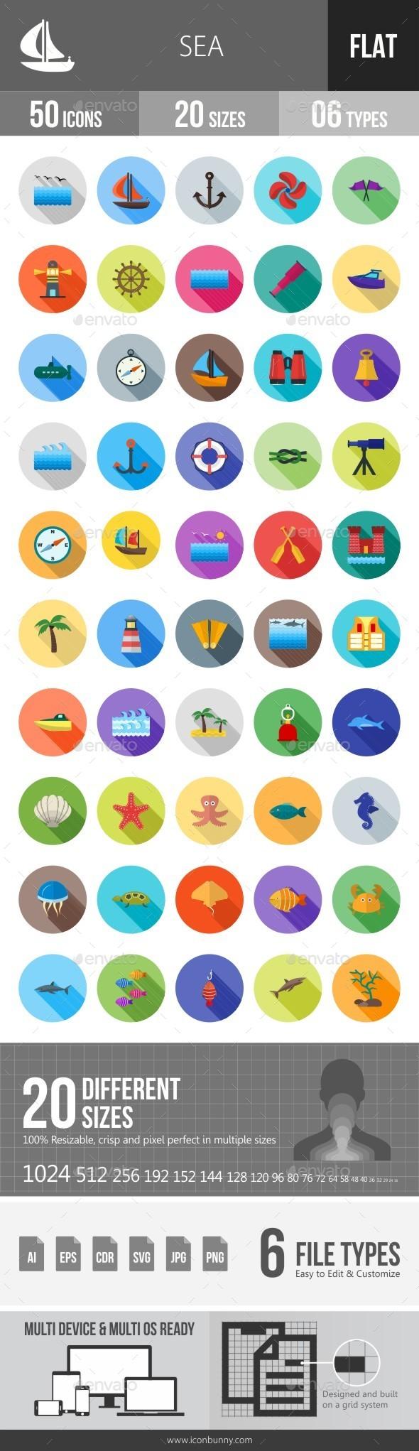 Sea Flat Shadowed Icons - Icons