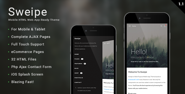 Sweipe – Mobile HTML Web App Ready Template