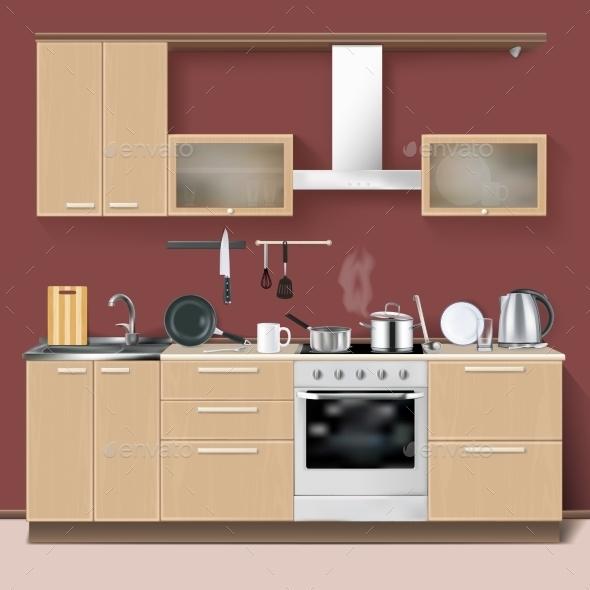 Realistic Kitchen Interior  - Decorative Symbols Decorative
