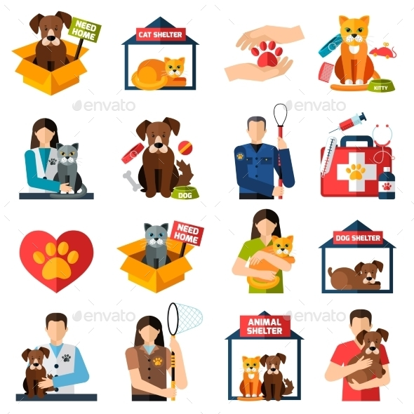 Animal Shelter Icons Set - Animals Characters