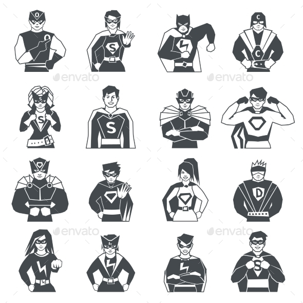 Superhero Black White Icons Set  - People Characters
