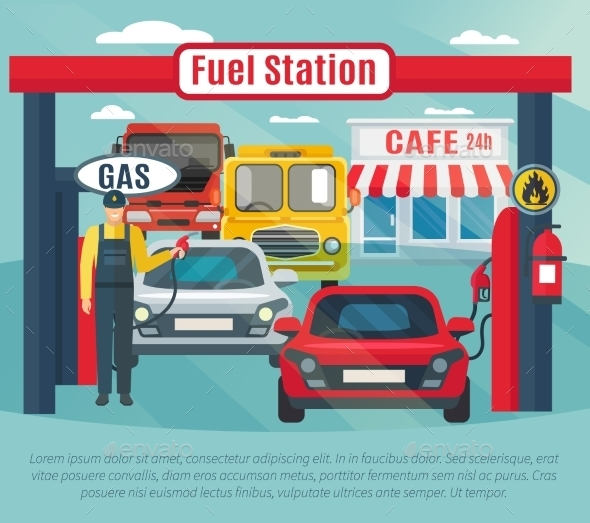 Gas Station Background Illustration  - Industries Business