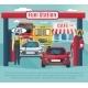Gas Station Background Illustration