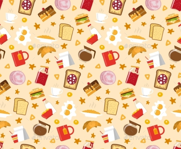 Breakfast Seamless Pattern  - Food Objects
