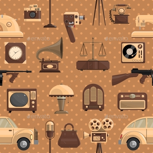 Retro Seamless Pattern  - Man-made Objects Objects