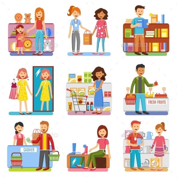 Family Shopping Concept  Flat PIctograms - Commercial / Shopping Conceptual