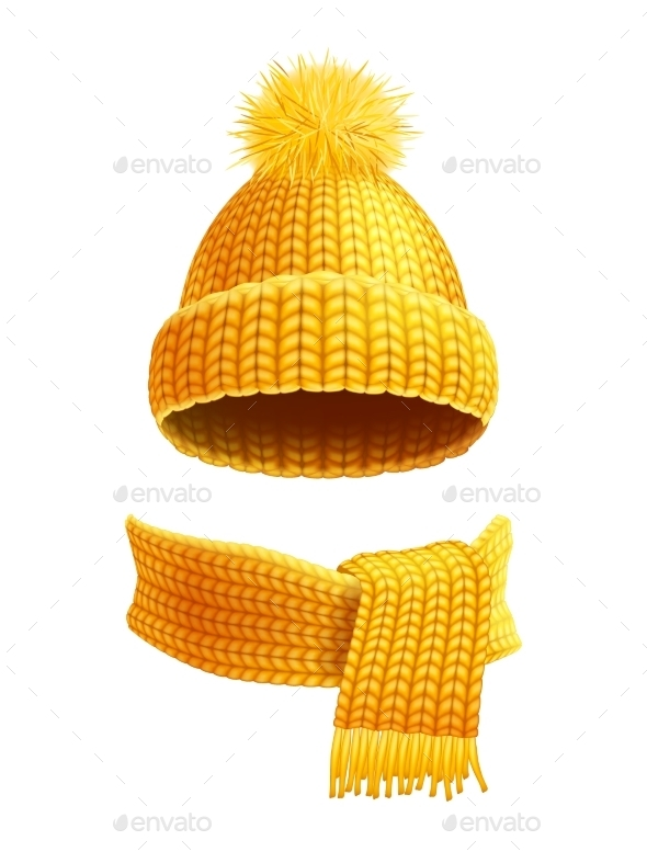 Knitted Hat And Scarf Flat Illustration  - Objects Vectors