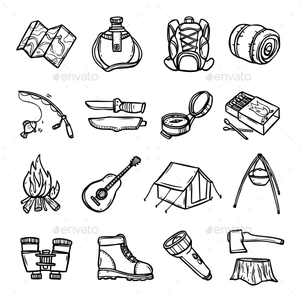 Camping Black White Icons Set  - Man-made objects Objects