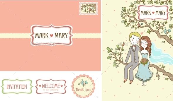 Set Of Wedding Invitation Cards. - Weddings Seasons/Holidays