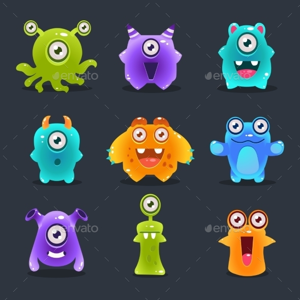 Monsters Lovely Vector Illustration - Monsters Characters
