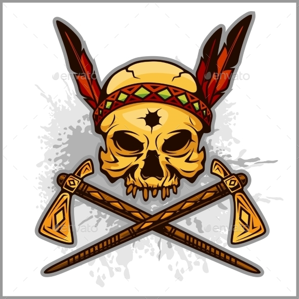 Skull Of An Indian Warrior Vector Illustration - Tattoos Vectors