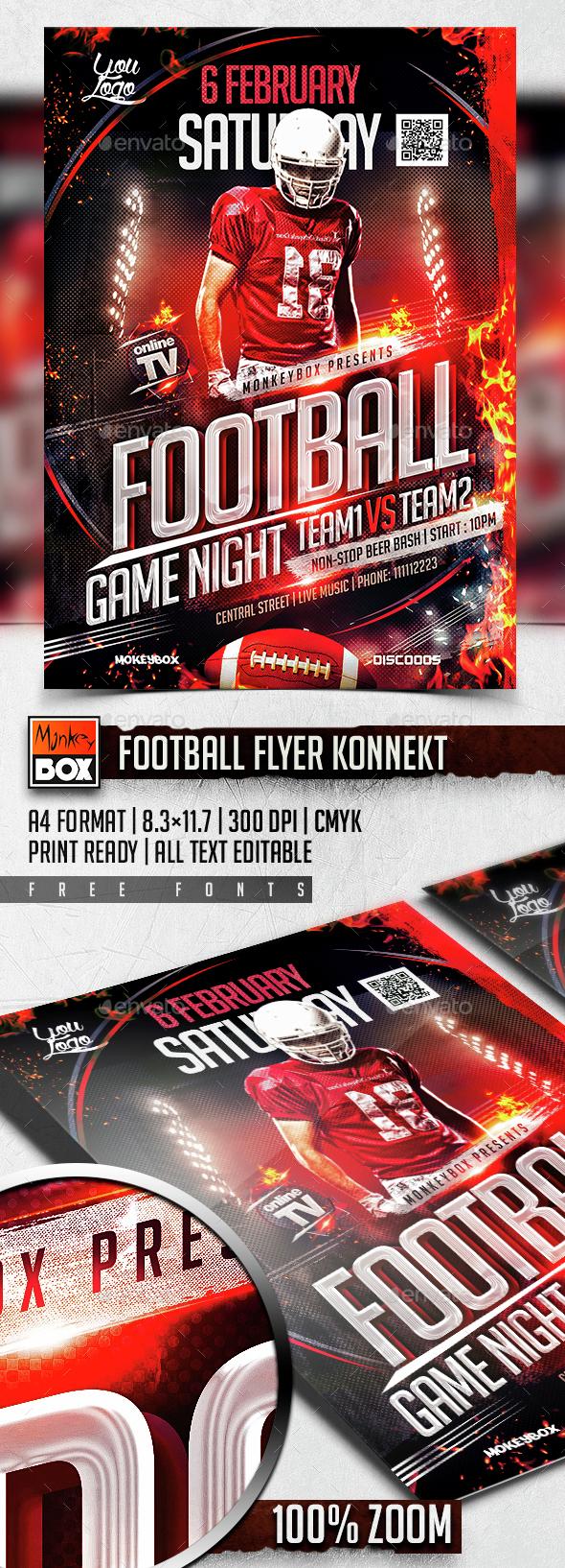 Football Flyer Konnekt - Flyers Print Templates