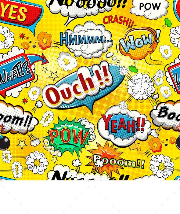 Comic Speech Bubbles Seamless Pattern - Patterns Decorative