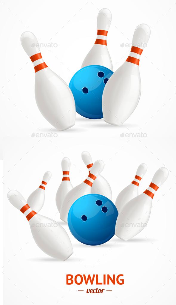 Bowling Ball Crashing Into The Pins. Vector - Sports/Activity Conceptual