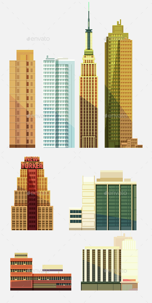 Set Of City Buildings - Buildings Objects