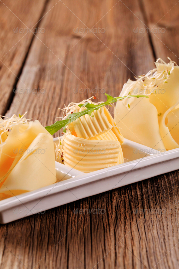 Swiss cheese and butter - Stock Photo - Images