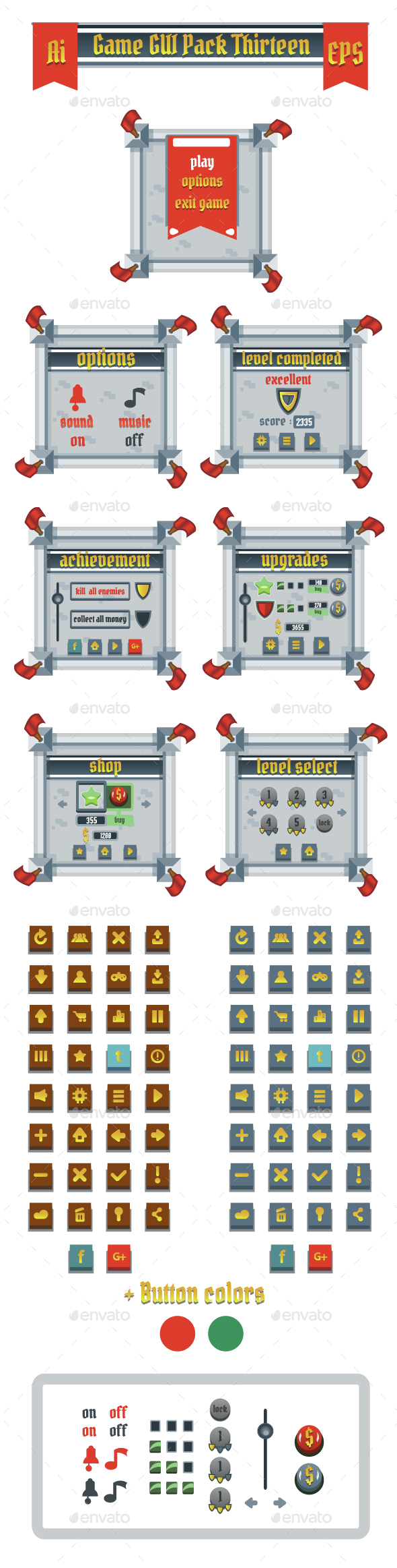 Game GUI Pack Thirteen - User Interfaces Game Assets