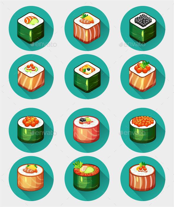 12 Sushi Set Icons - Icons